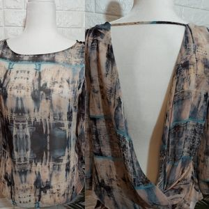 Forever 21 Contemp Open Back Sheer Blouse Small